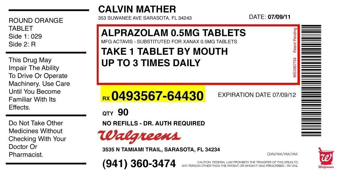Pill Bottle Label Template Prescription