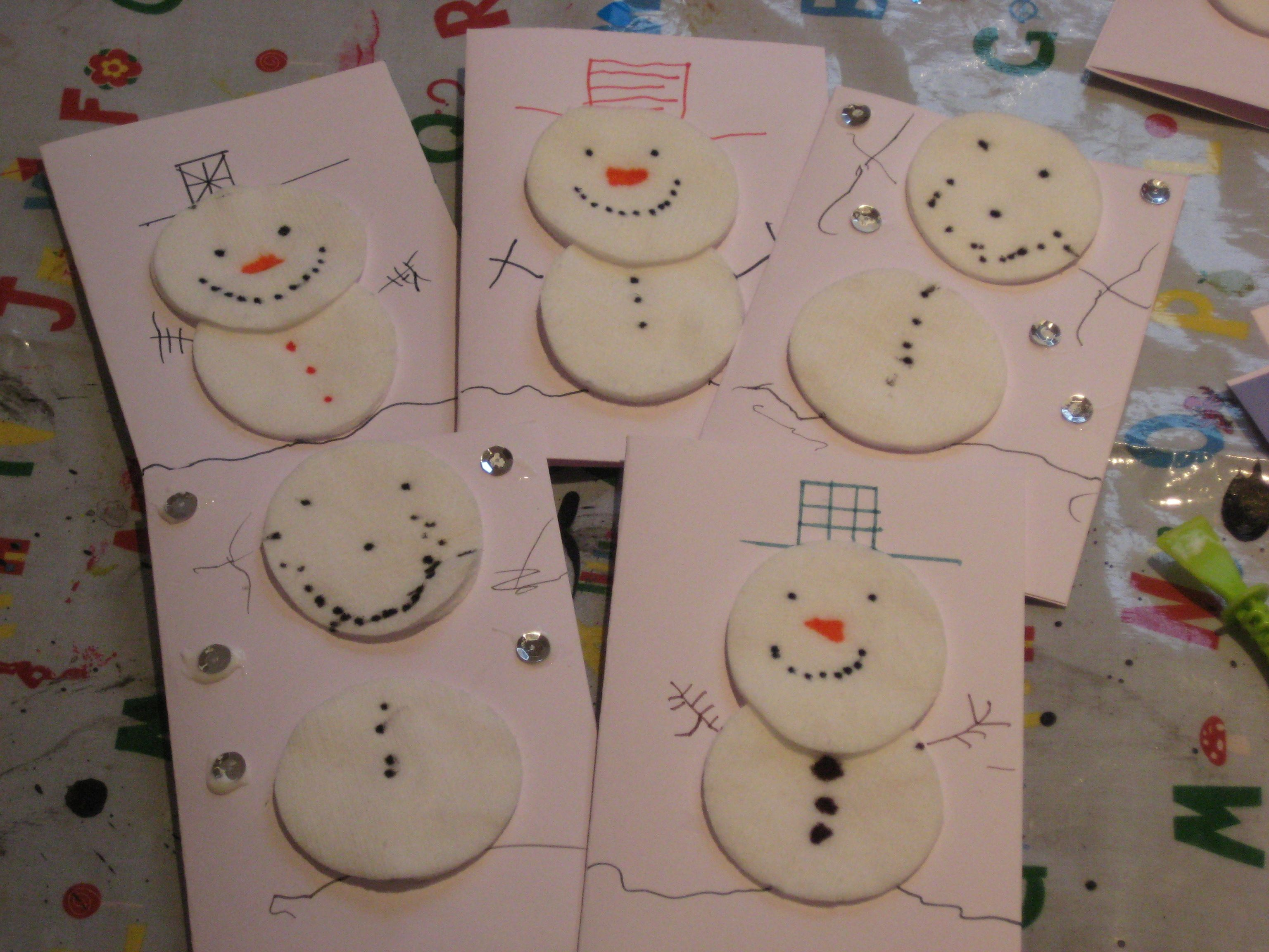 Christmas Snowman Cotton Wool Thank You Cards