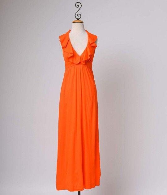 Vintage Neon Orange Ruffled Halter Empire Maxi Dress