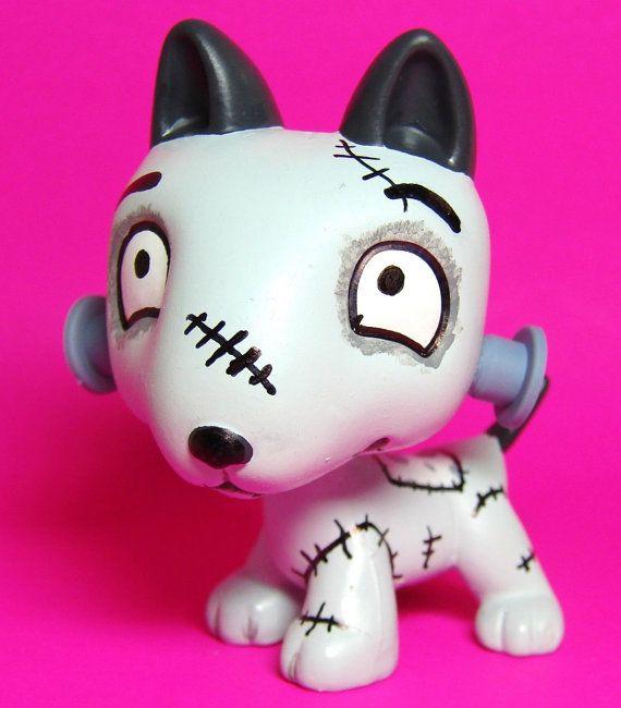 Littlest Pet Shop Sparky Frankenweenie Ooak Hand Painted Custom Figure Lps Dog Lps Dog Little Pets Pet Shop