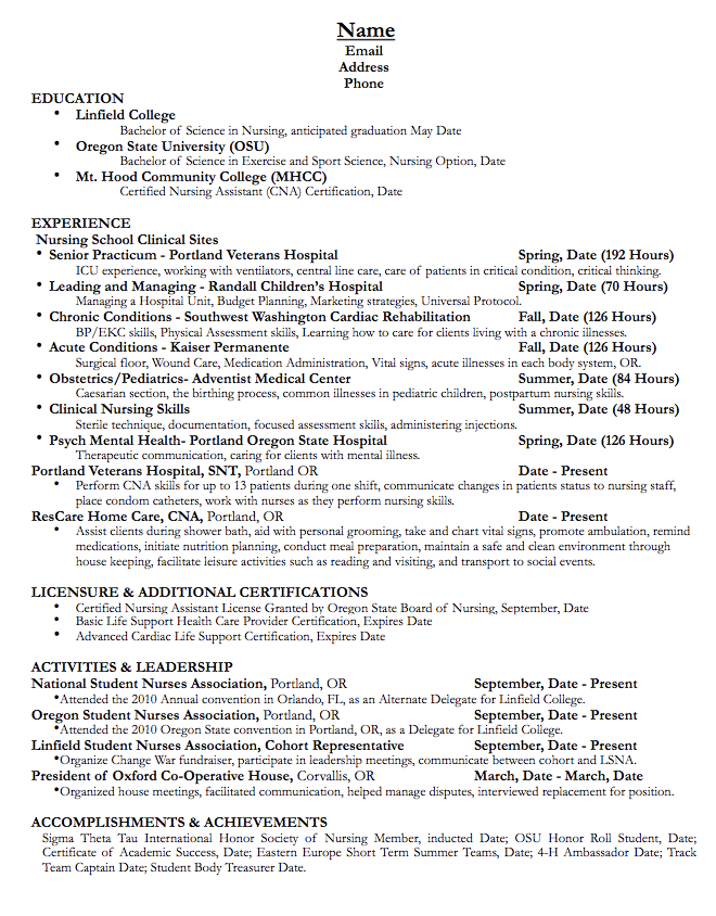 Pin By Latifah On Example Resume Cv Resume Student Nurse Resume