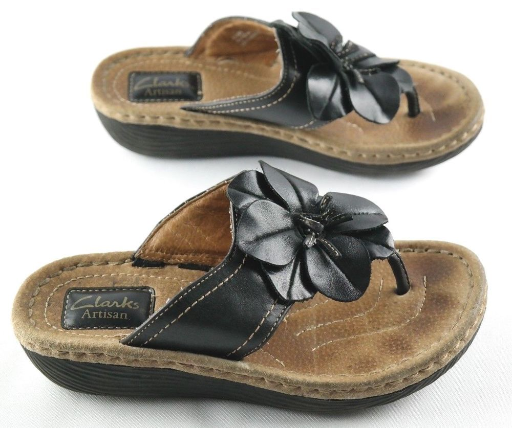 119b75867caf27 Clarks Artisan Thong Flip Flops Womens Size 5 Black Leather Flower Sandals   fashion  clothing  shoes  accessories  womensshoes  sandals  ad (ebay link)