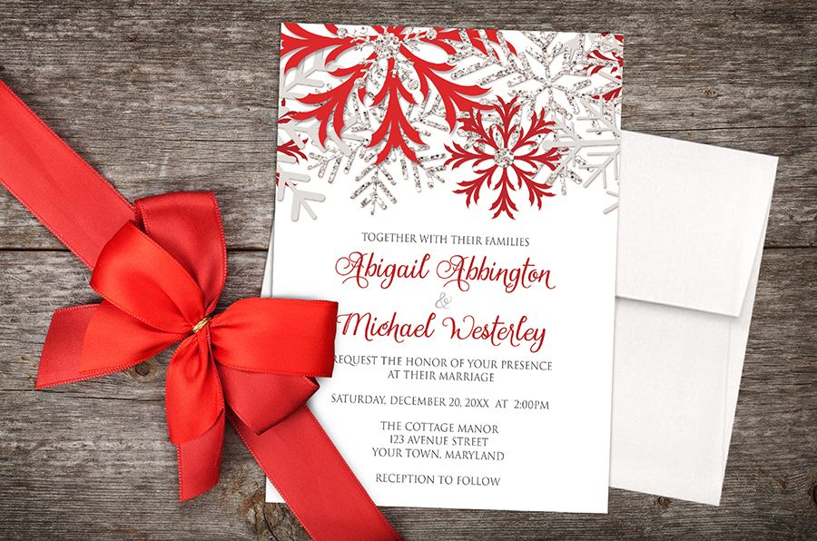 Red Black And Silver Wedding Invitations: Wedding Invitations - Winter Snowflake Red Silver