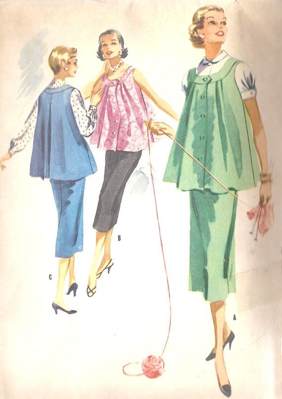 66d7ca54277 1950s Maternity Dress Vintage Sewing Pattern by MissBettysAttic ...