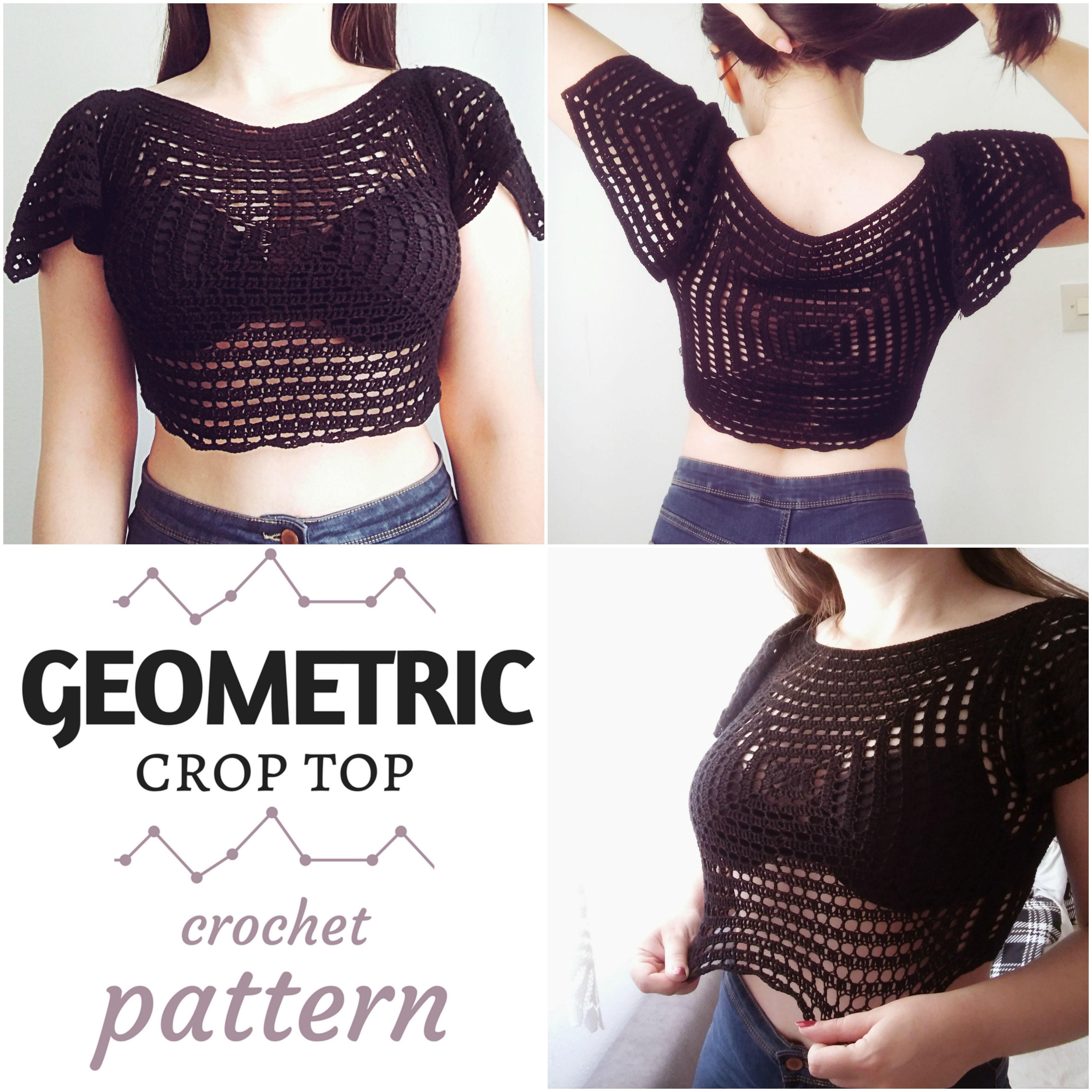 Geometric Crop Top, free crochet pattern. Beginner friendly. Written ...