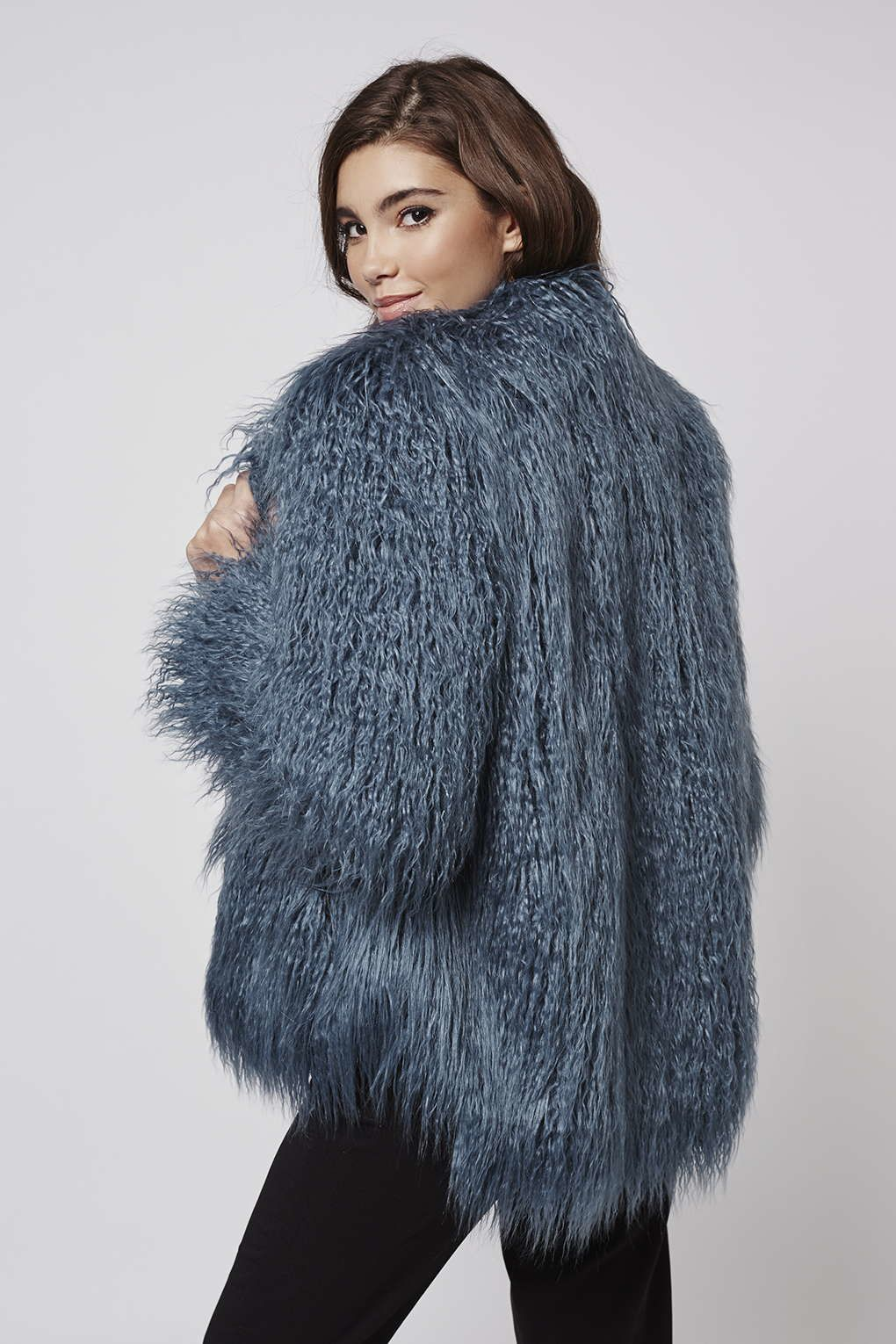 83473f69617795 Topshop Mongolian Faux Fur Coat By Kendall + Kylie At in Blue