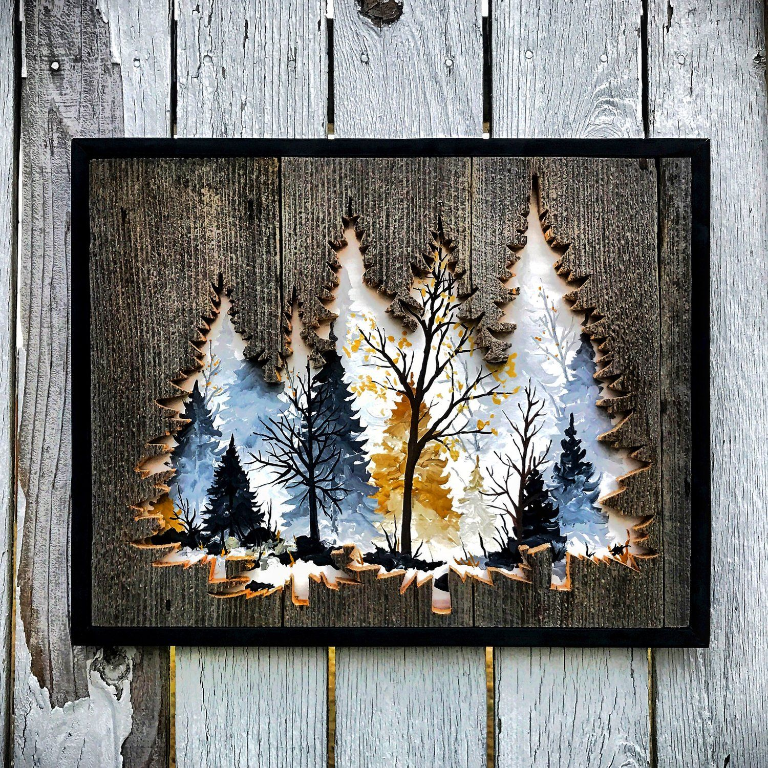 Forest in wall art pinterest wood wood art and wood crafts