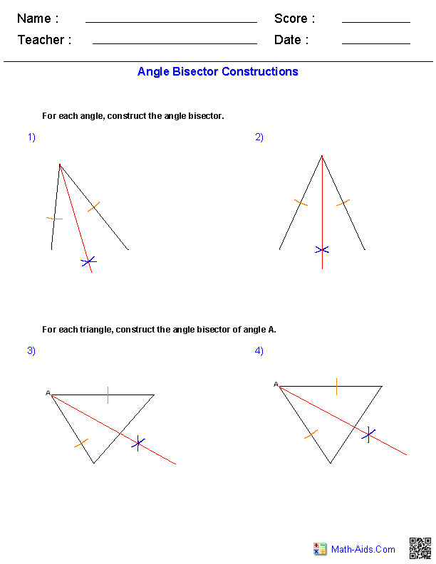 angle bisectors constructions worksheets teaching math geometry worksheets geometry. Black Bedroom Furniture Sets. Home Design Ideas