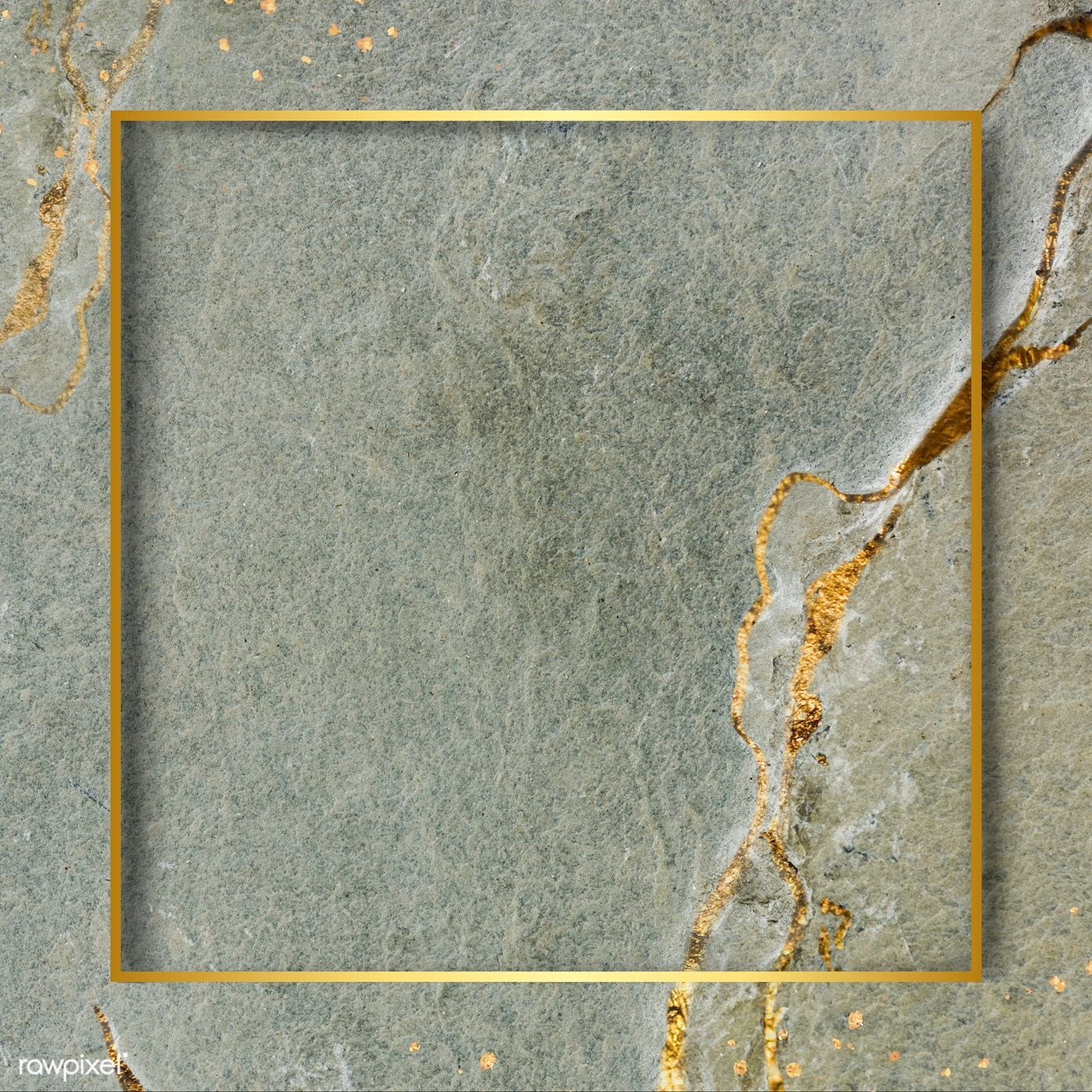 Download premium image of Golden square frame on a marble textured #marbletexture