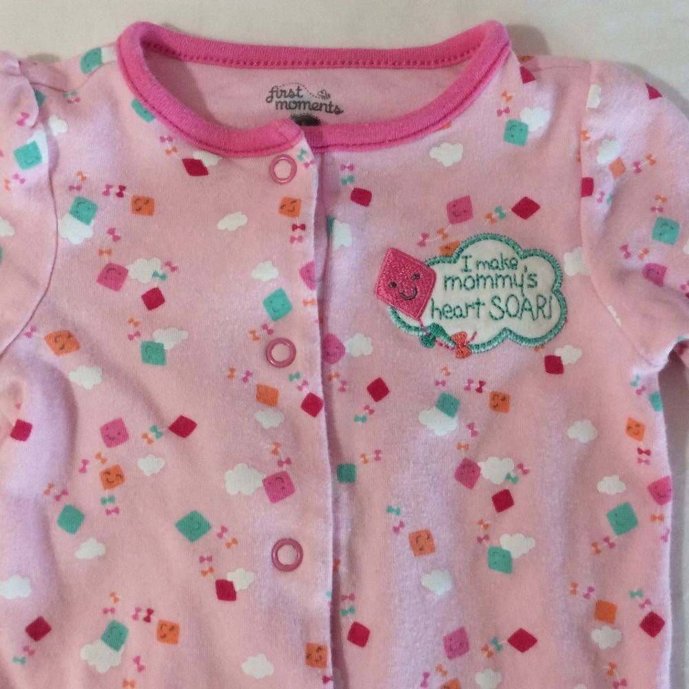 0da43b490083 Details about First Moments Girls Pajama Sleeper Size 6 Months Pink ...