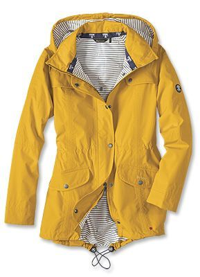 Orvis Women S Yellow Raincoat With Blue And White Striped