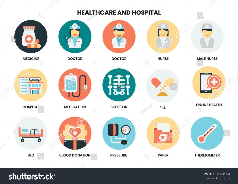 Hospital Icons Set For Business Marketing Management Ad