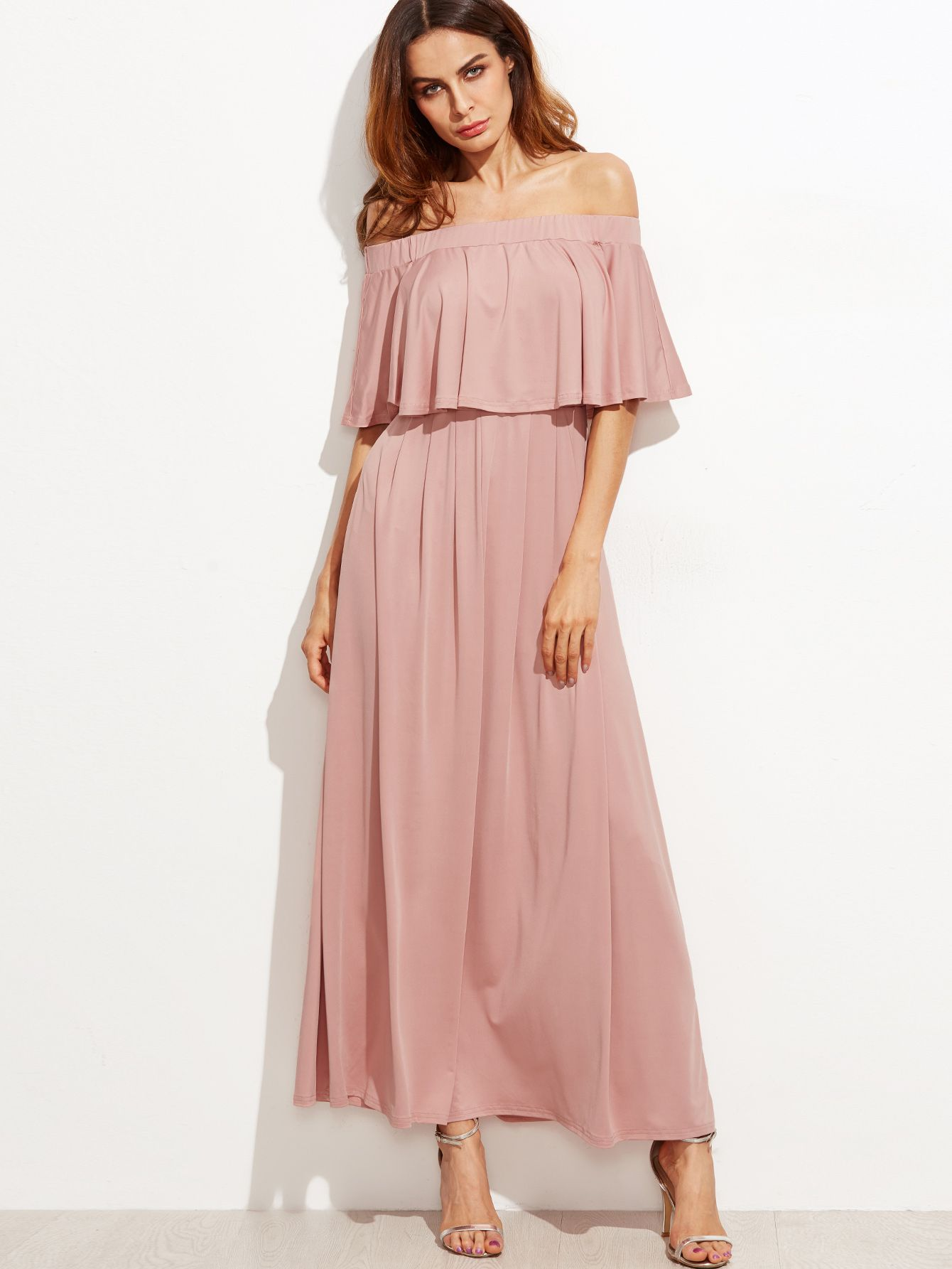 d0dc421267d Shop Pink Off The Shoulder Layered Ruffle Dress online. SheIn offers ...