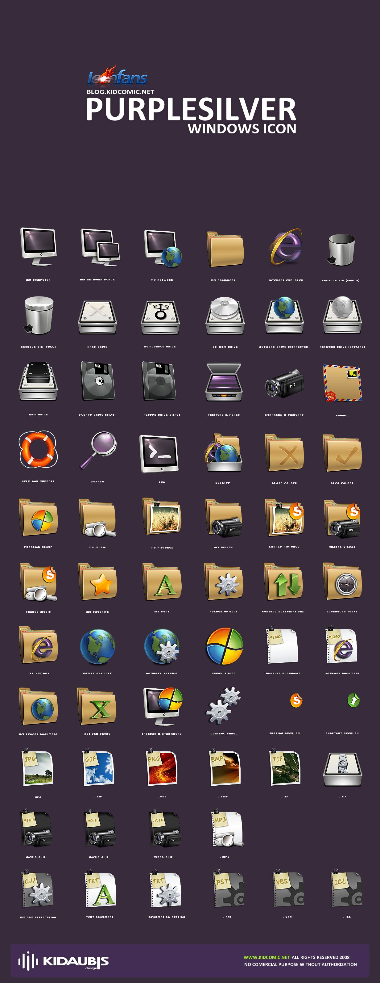 Free Purplesilver windows icons