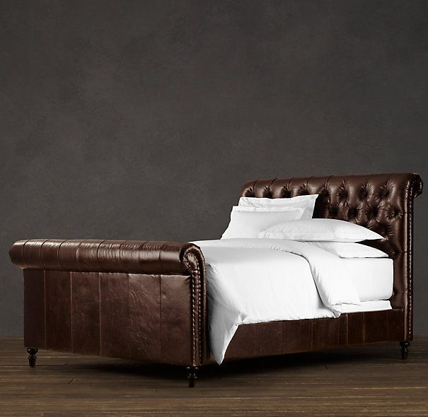 Chesterfield Leather Sleigh Bed With Footboard Leather Sleigh