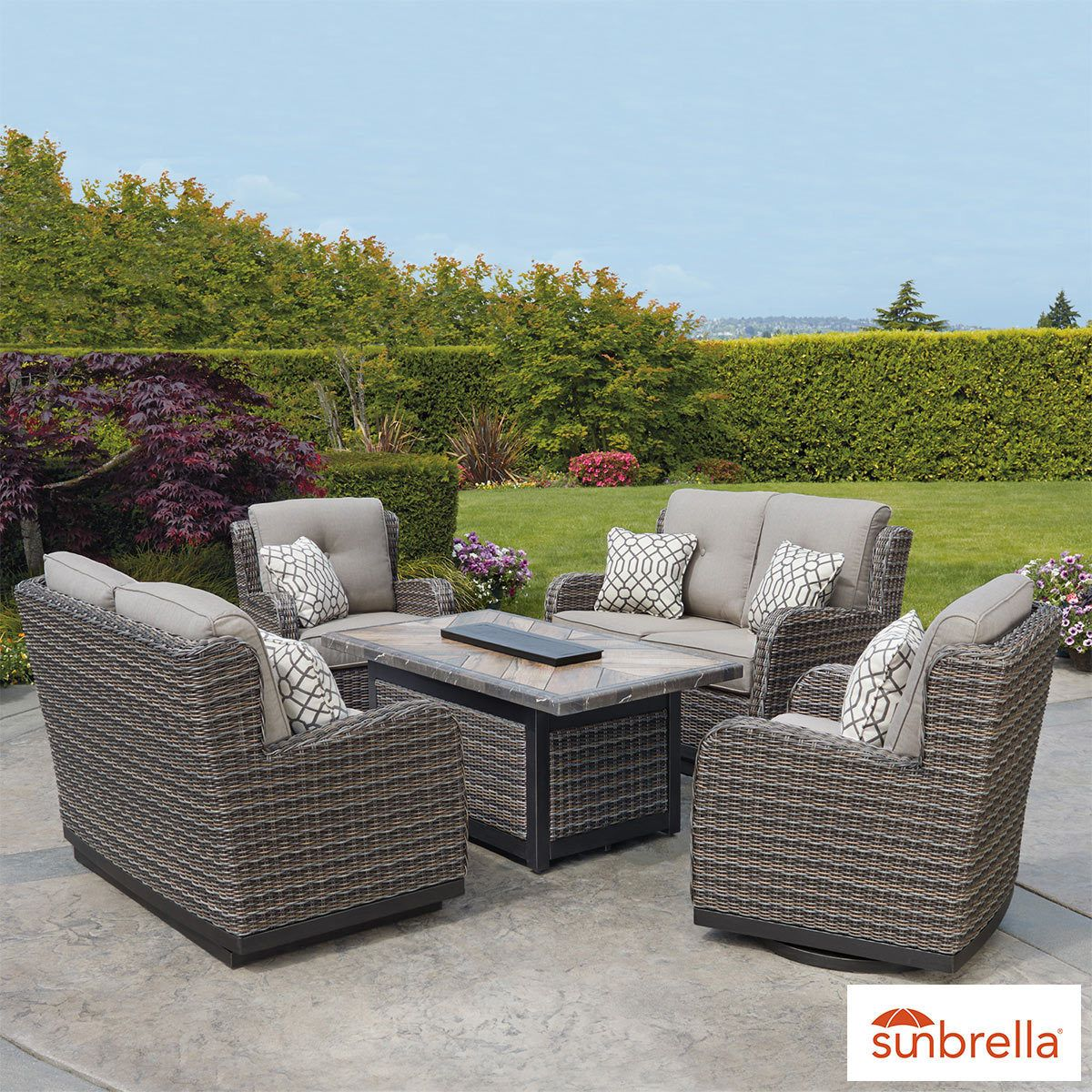 Agio Eastport 5 Piece Woven Fire Chat Set Cover Patio