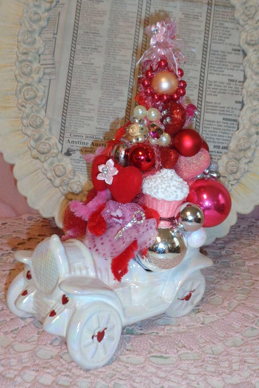 Pink Valentine Bottle Brush Tree Vintage Planter Ornaments