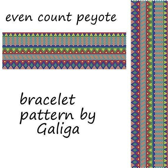 Even peyote bracelet pattern bright summer tropical pattern juicy colorful bracelet pattern beaded jewelry pattern digital bead graph pdf #tropicalpattern