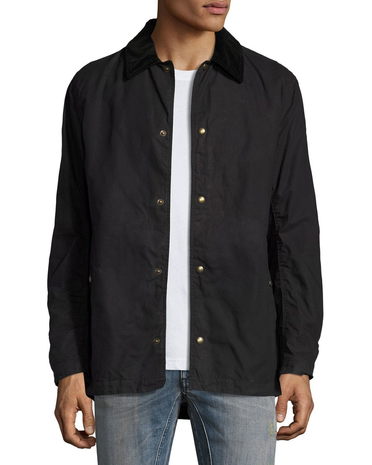Lydden Waxed Cotton Shirt Jacket, Black