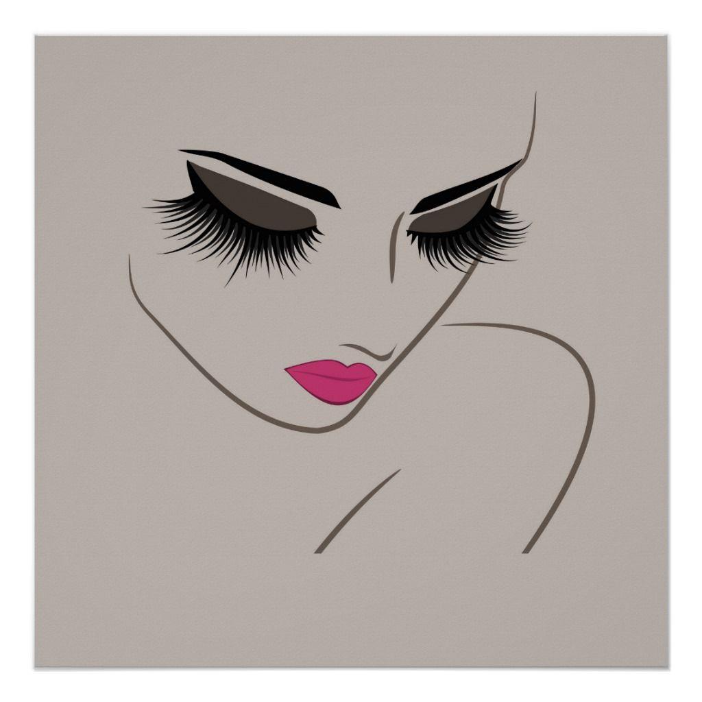 Face Long Lashes Lash Extension Poster Zazzle Com Cils Dessin Dessiner Yeux Realiste Deco Salon De Coiffure