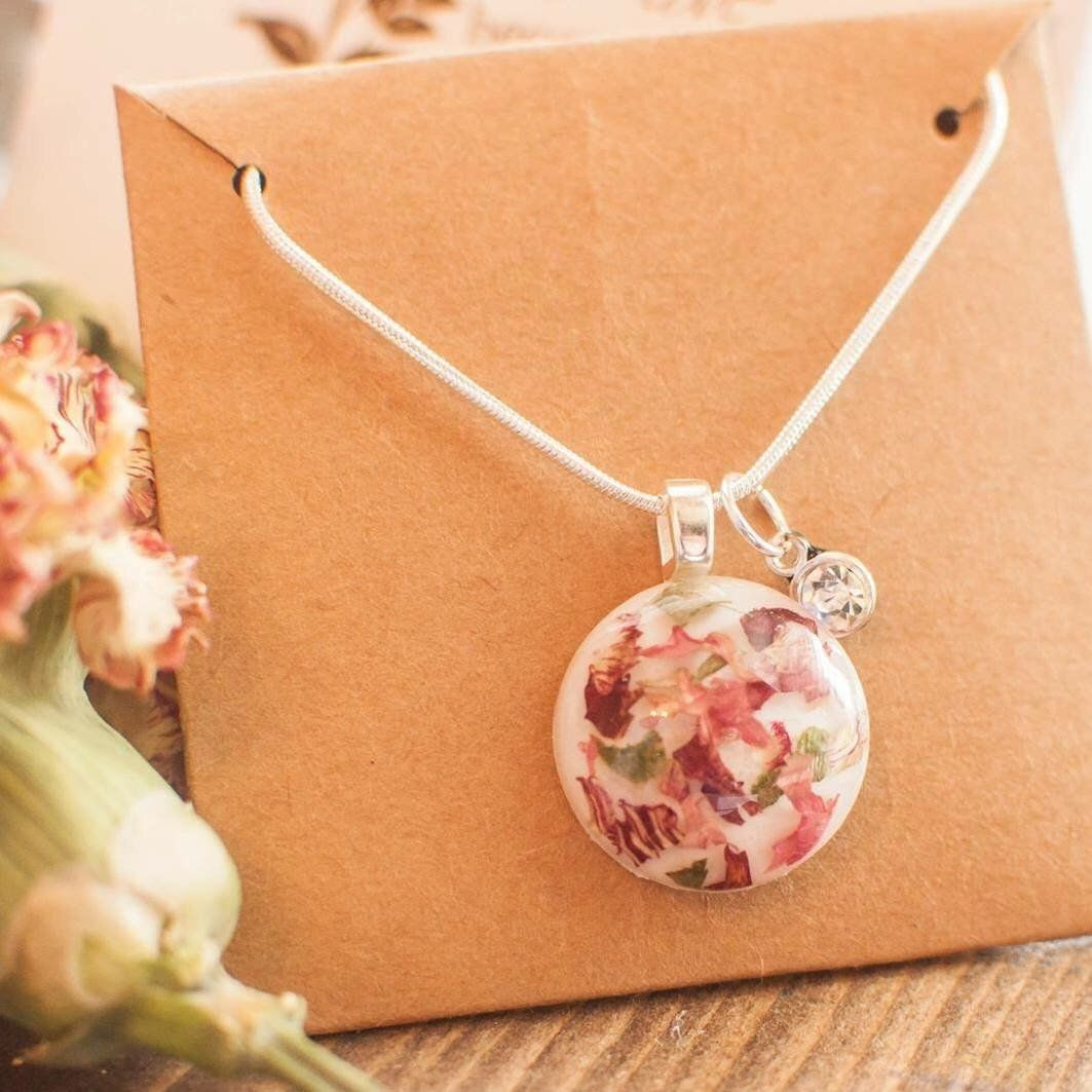 Memorial Flower Necklace, Dried Flowers, Funeral Flowers ...