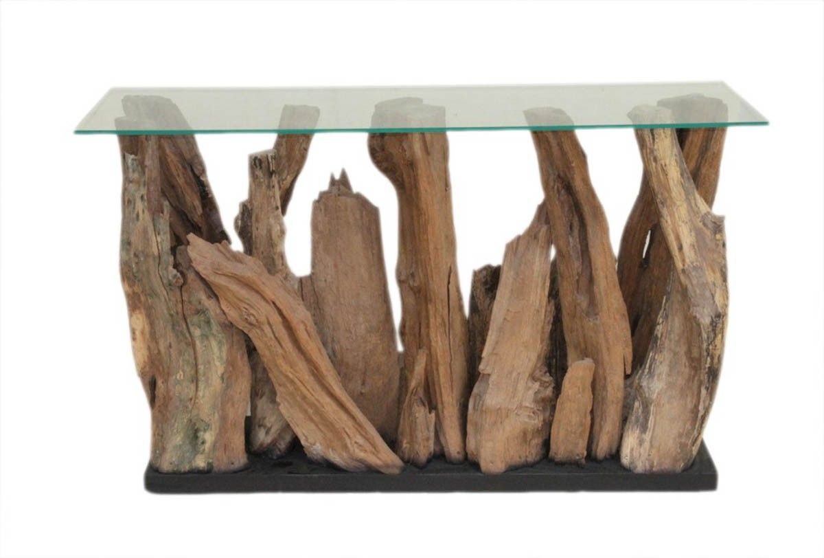 Kenya Wood Abstract Console Table With Glass Top Tables Furniture Products [ 812 x 1200 Pixel ]