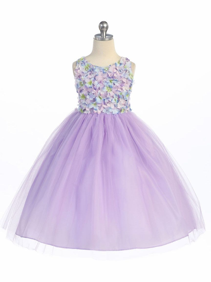 Lilac Flower Patched Bodice w/ Tulle Skirt | Easter Dresses for Macy ...