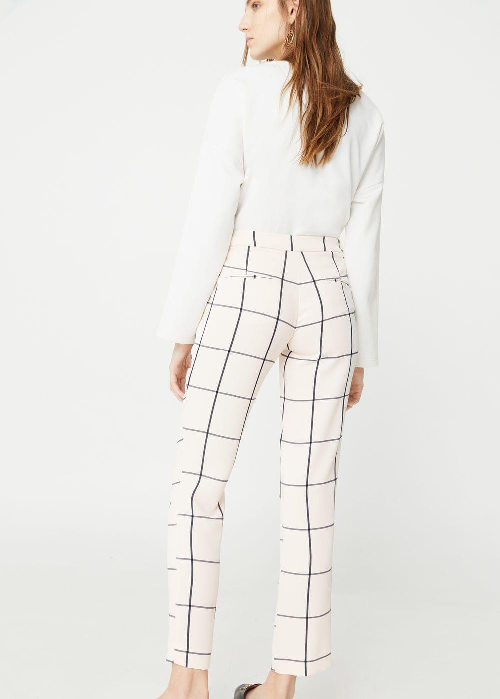 FIND Pantalones a Cuadros con Cintur/ón de Mujer