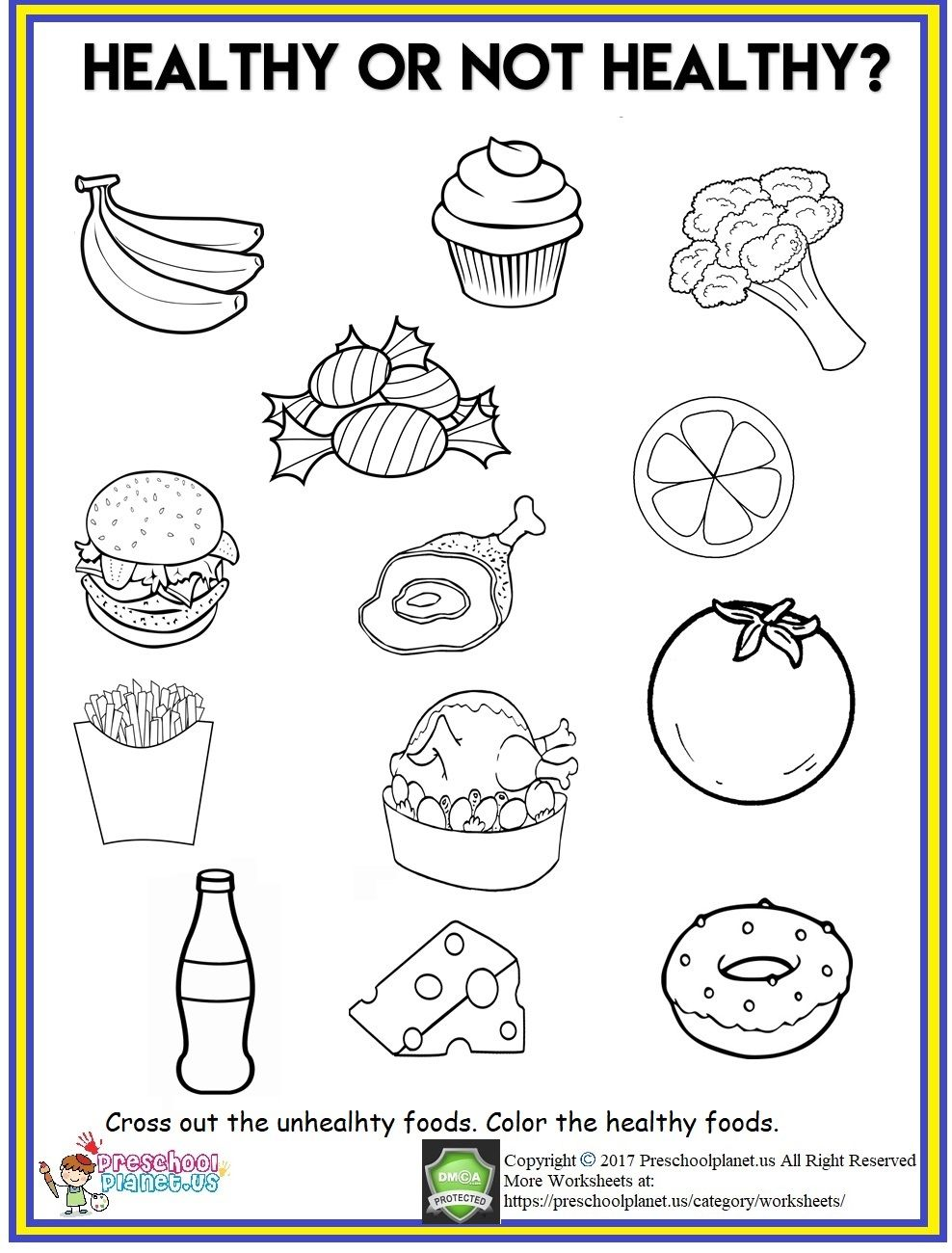 hight resolution of Healthy Food Worksheet   Healthy and unhealthy food