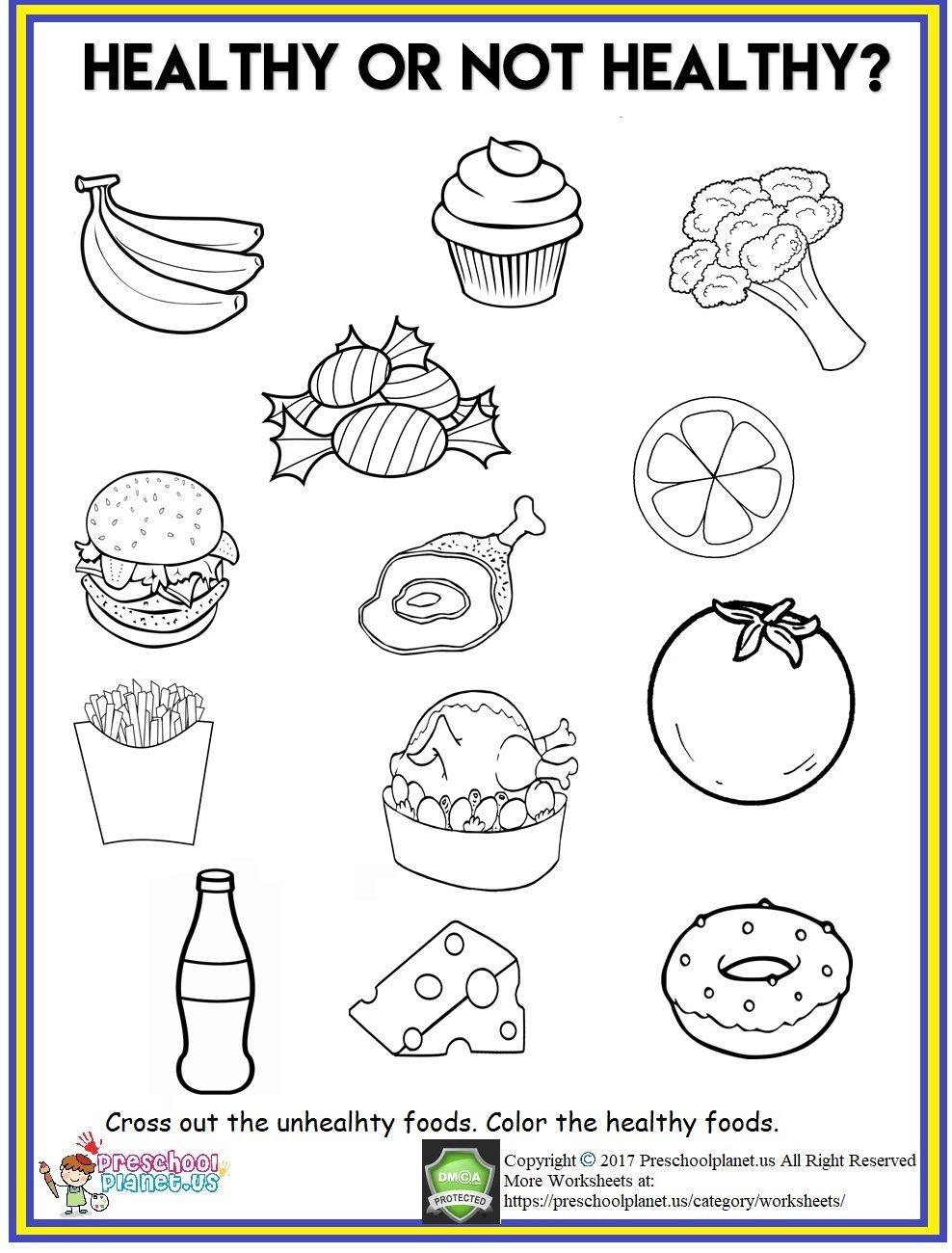 Healthy Food Worksheet   Healthy and unhealthy food [ 1300 x 988 Pixel ]