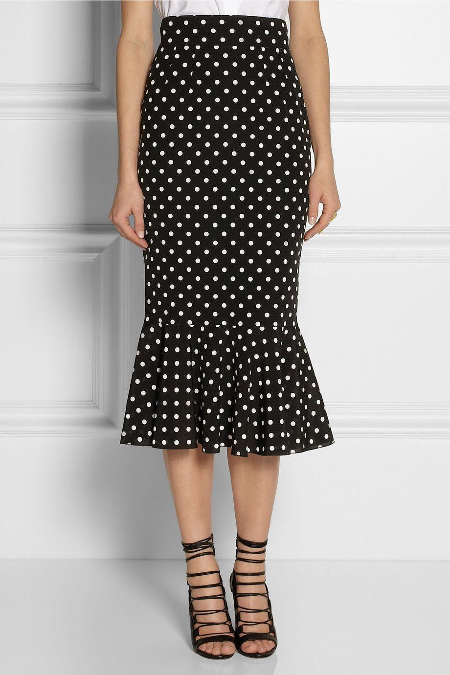 Dolce & Gabbana|Polka-dot stretch-silk pencil skirt