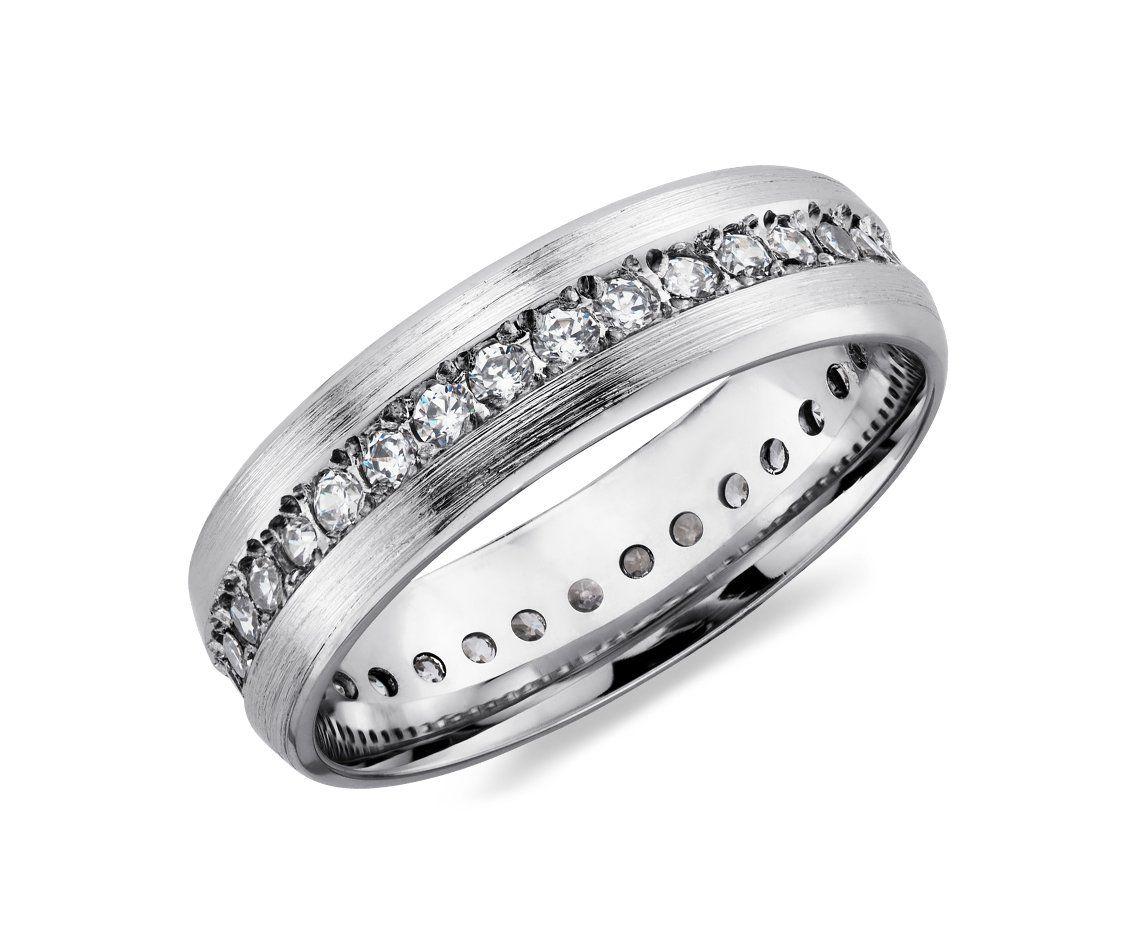 Brushed Diamond Eternity Womens Wedding Ring In 14k White Gold Bluenile Wedding Rings For Women Wedding Rings Wedding Ring Bands