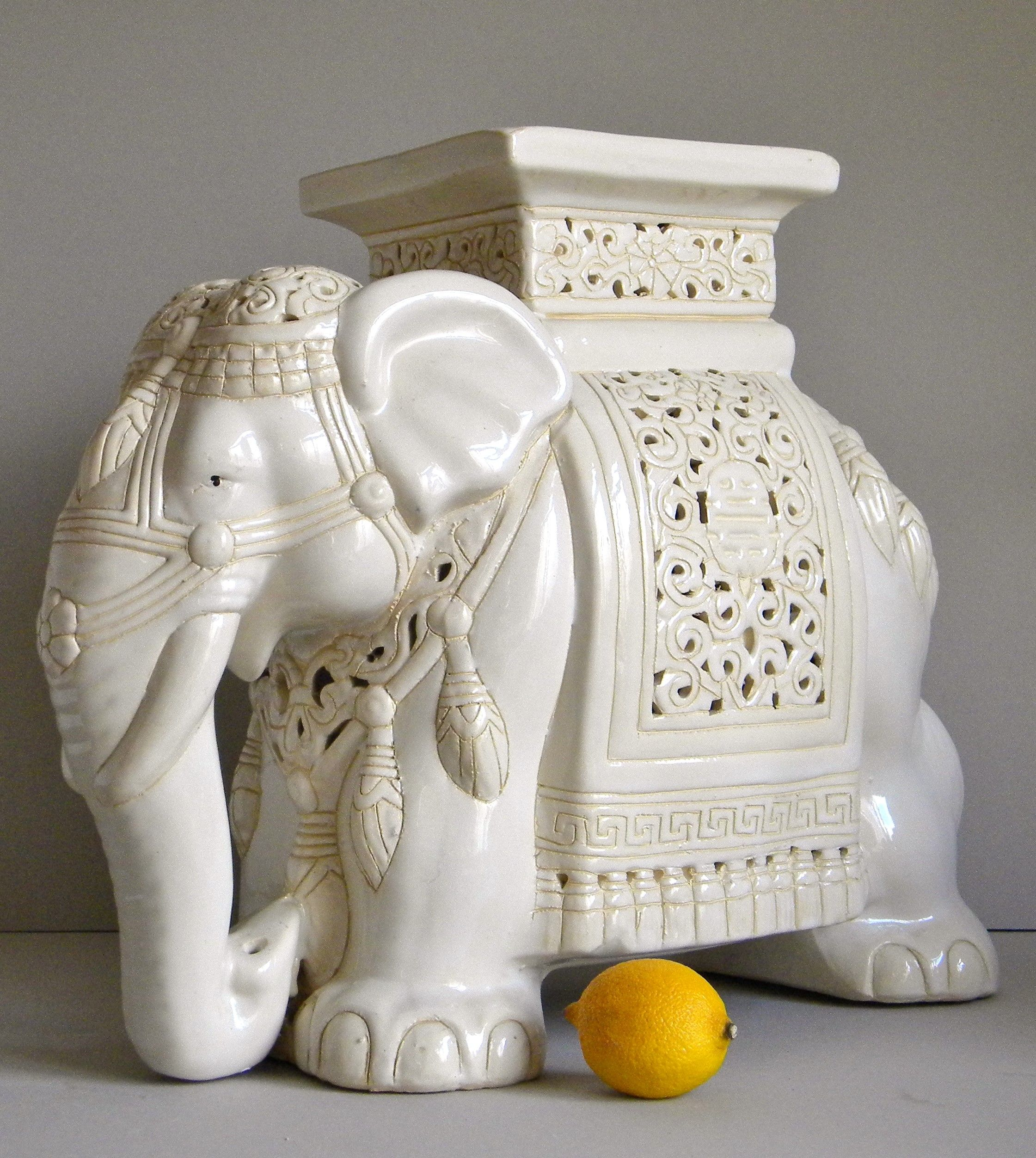 Vintage Asian Ceramics Large Elephant Plant Stand Side Table Stool