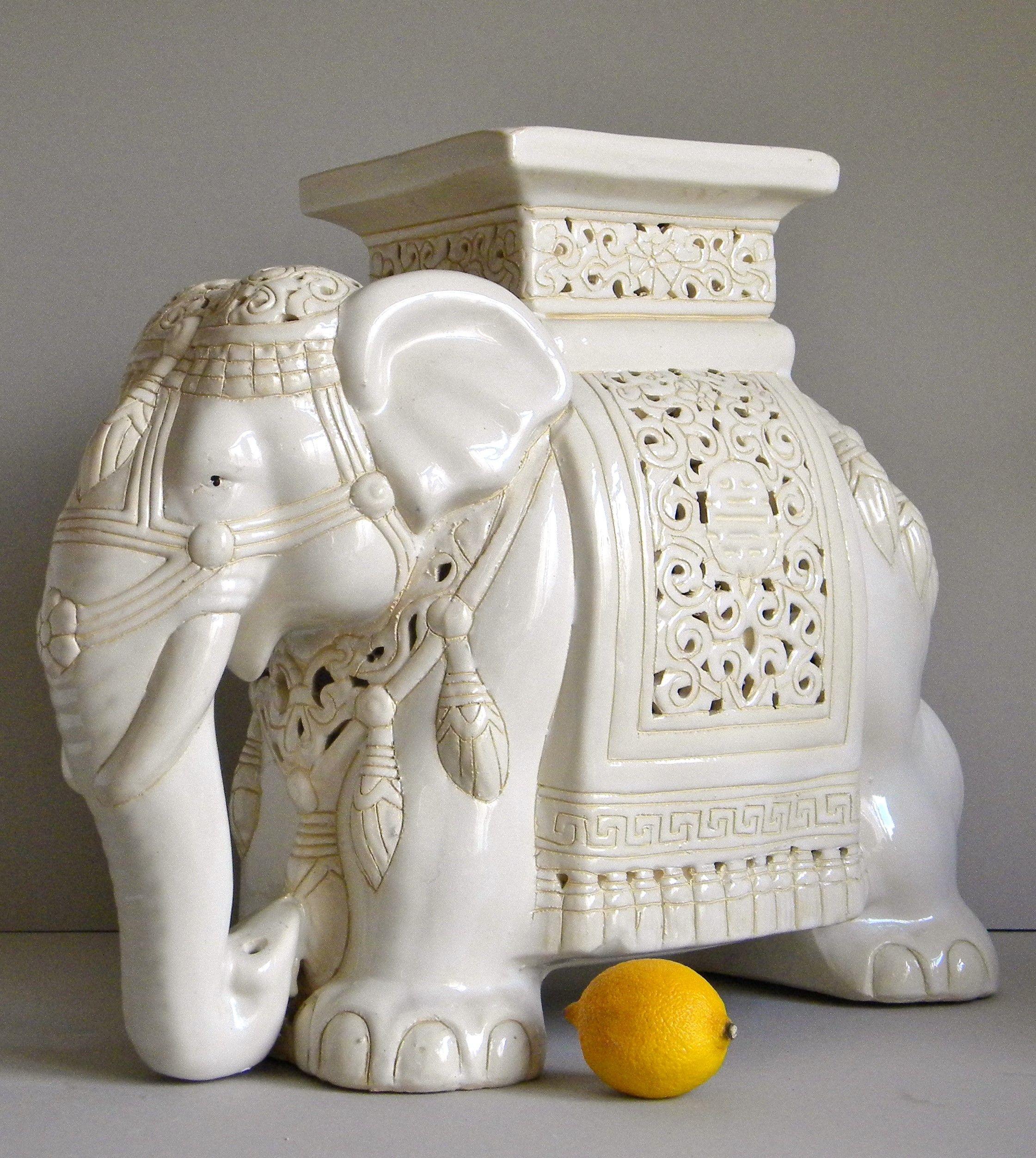 Vintage Asian Ceramics Elephant Plant Stand Side Table
