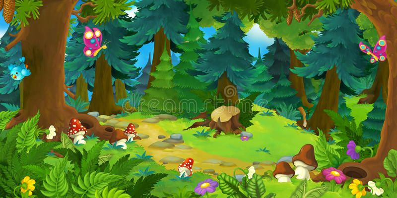 Mosque With Beautiful Natural Scenery Cartoon Design Beautiful View Pretty Natural Scenery Cartoon Design Scenery