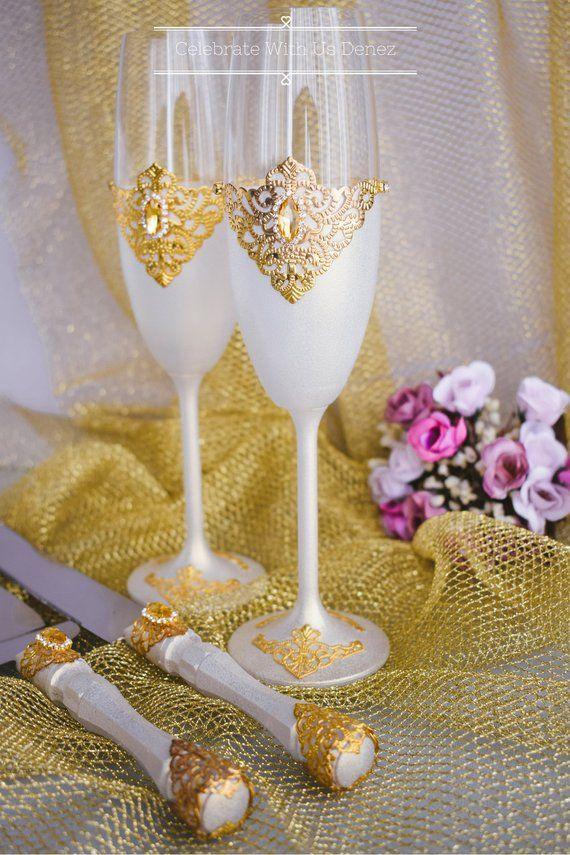 Ivory Wedding Glasses Ivory Cake Server Knife Personalized