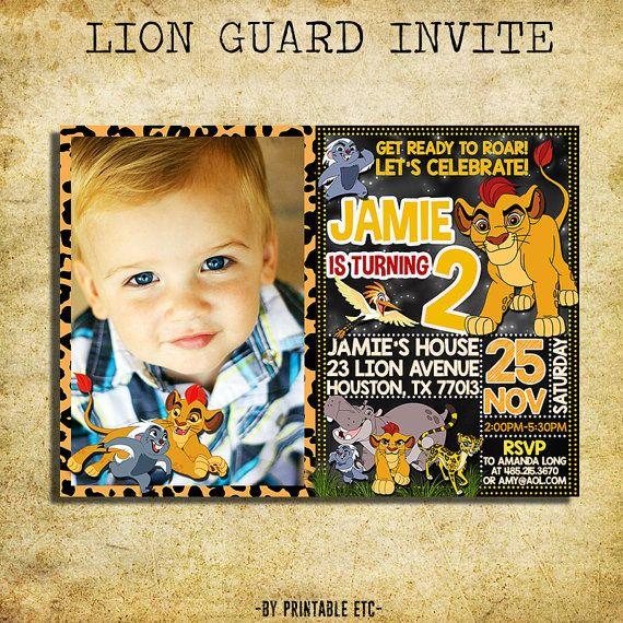 Lion Guard Birthday Invitation Lion Guard by PrintableETC on Etsy – Lion Birthday Invitations