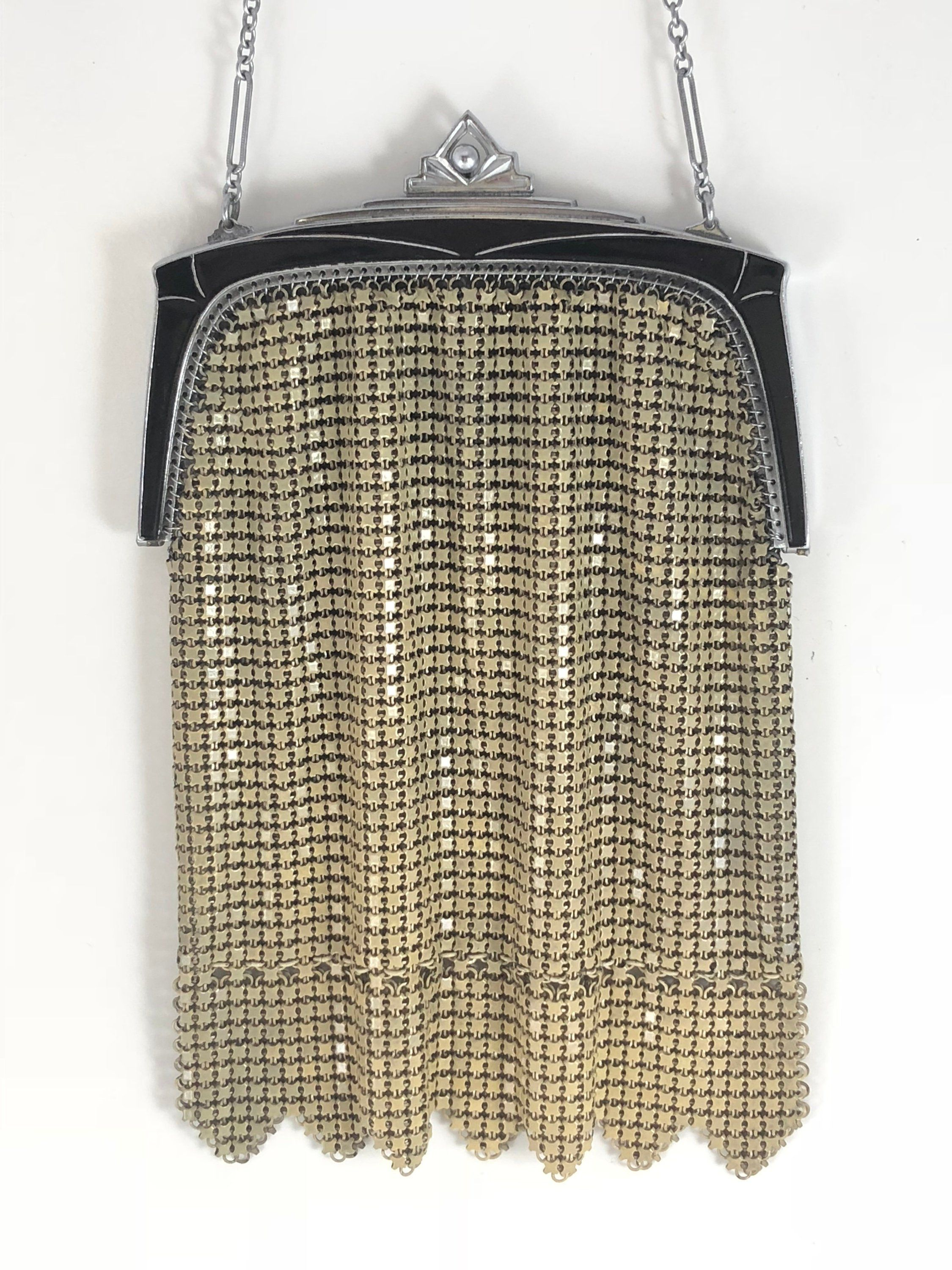 Vintage Evening Purse Small Lipstick//Coin Lined Antique Silver Tone Chain Strap