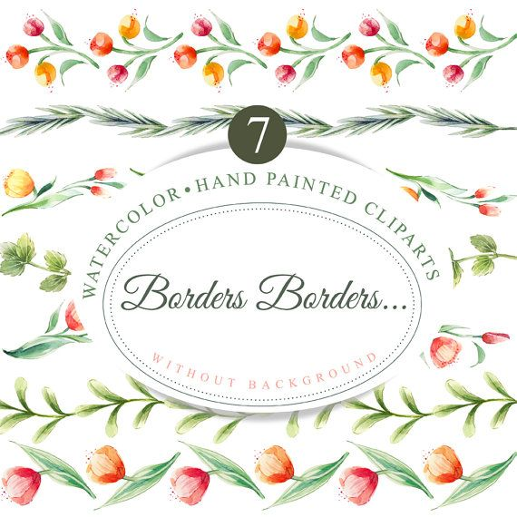 7 Floral borders, hand painted clipart, watercolor borders ...