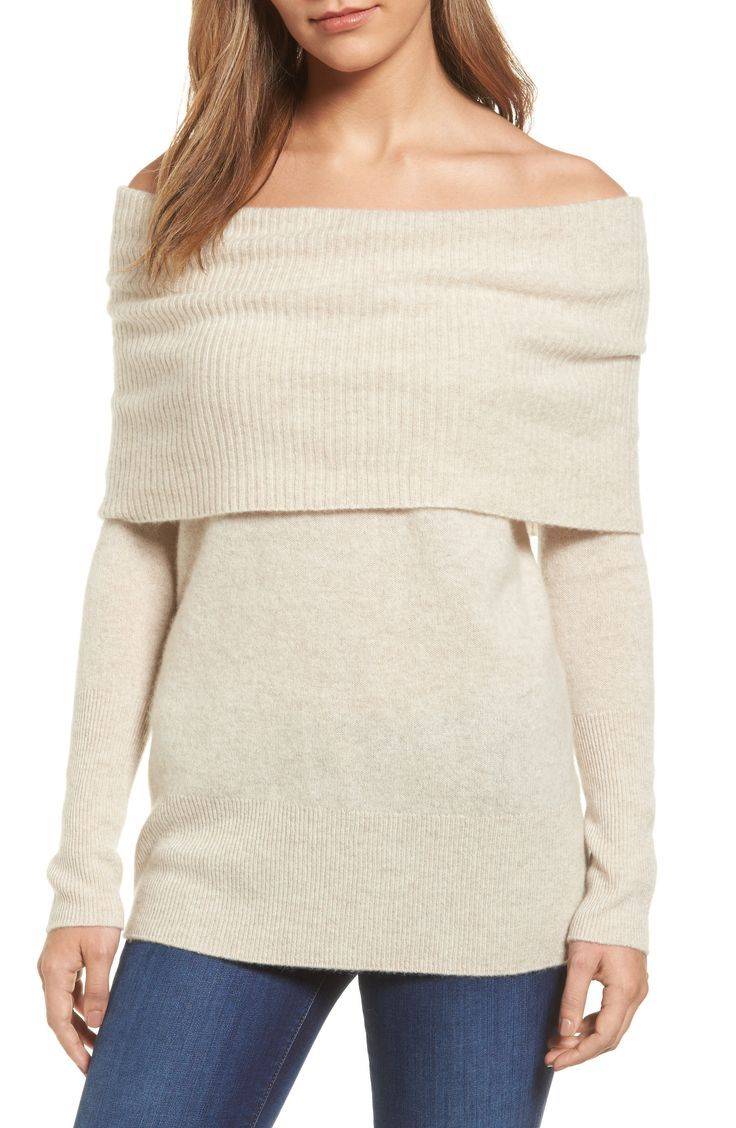 Love the sexy look of this cashmere off the shoulder sweater by ...
