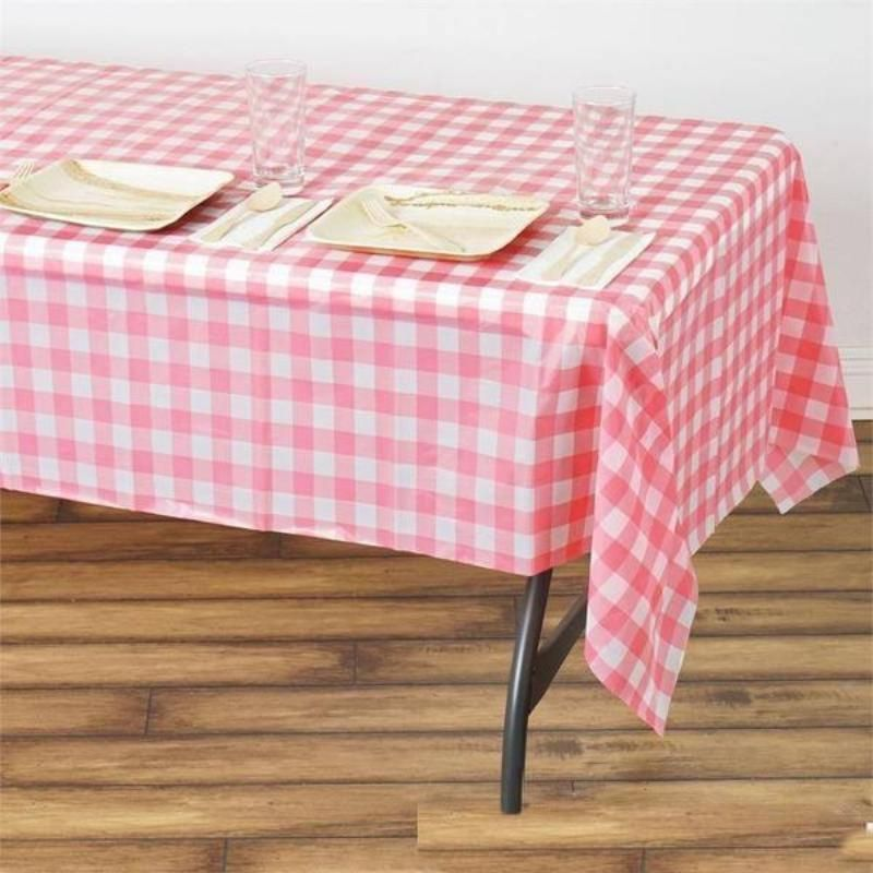 Buffalo Plaid Tablecloth 54 X 108 White Pink Rectangular Spill Proof Tablecloths Disposable Checkered Plastic Vinyl Waterproof Tablecloths In 2020 Plastic Table Covers Picnic Table Covers Plastic Tables