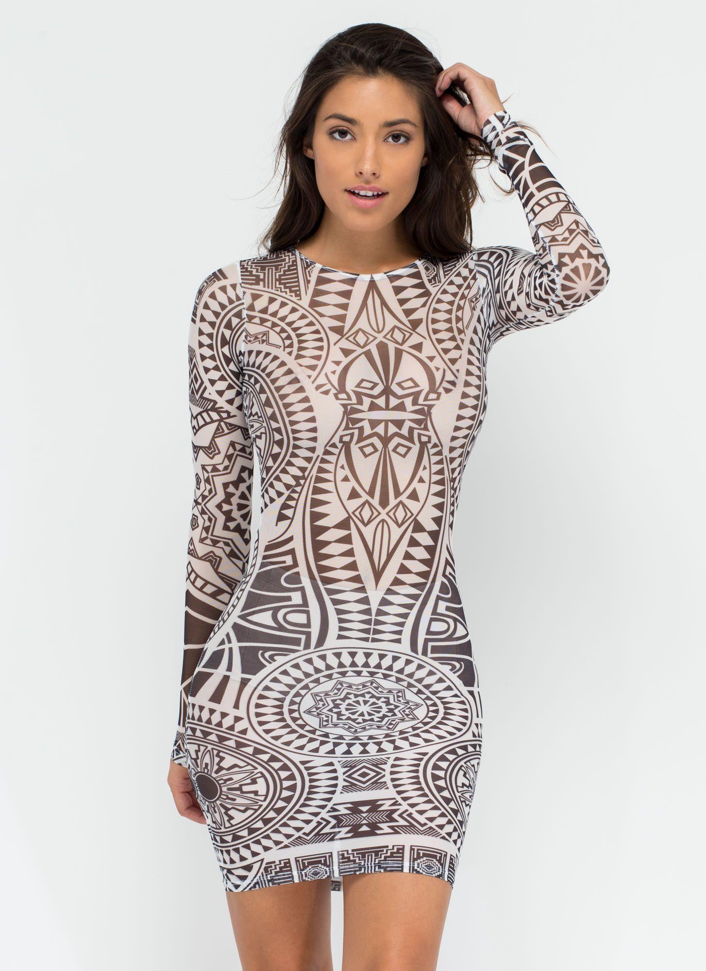Turn Up The Radial Tattoo Mesh Dress WHITE - GoJane.com | Turn Up ...