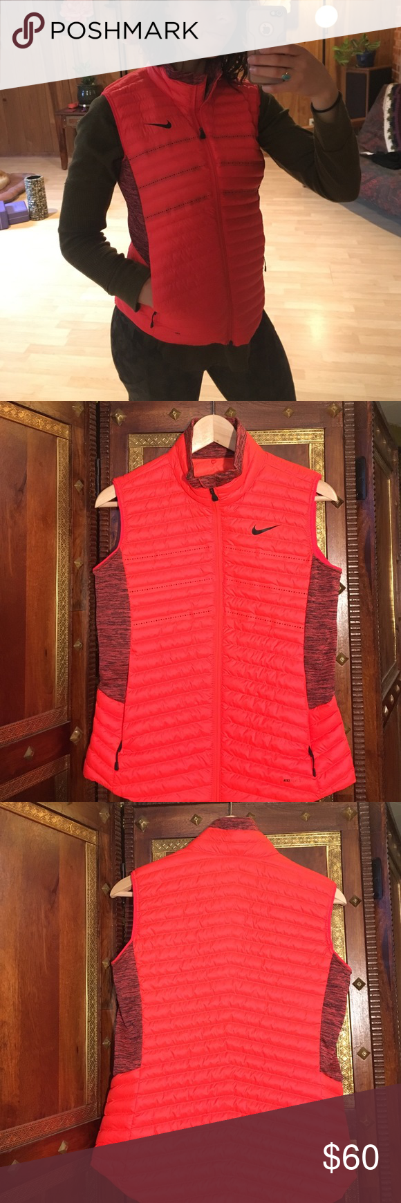 Coral Nike Aeroloft vest New without tags. Nice slim fit, warm fleecey zippered pockets. Fits nicely over a light sweater or under a coat.  Side panels are stretchy. Has a grommet in pocket to attach headphones through. Lightweight, Warm and stylish! Nike Jackets & Coats Vests