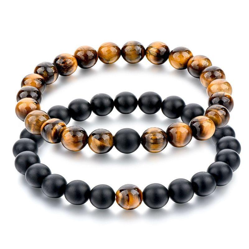 Men/'s TIGER EYE Shamballa Bracelet NATURAL Gemstone beads 4MM
