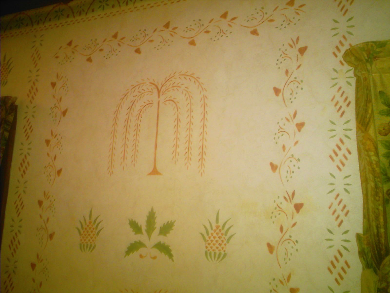 Weeping Willow and Pineapple stencil. View 2. | Old home ideas ...