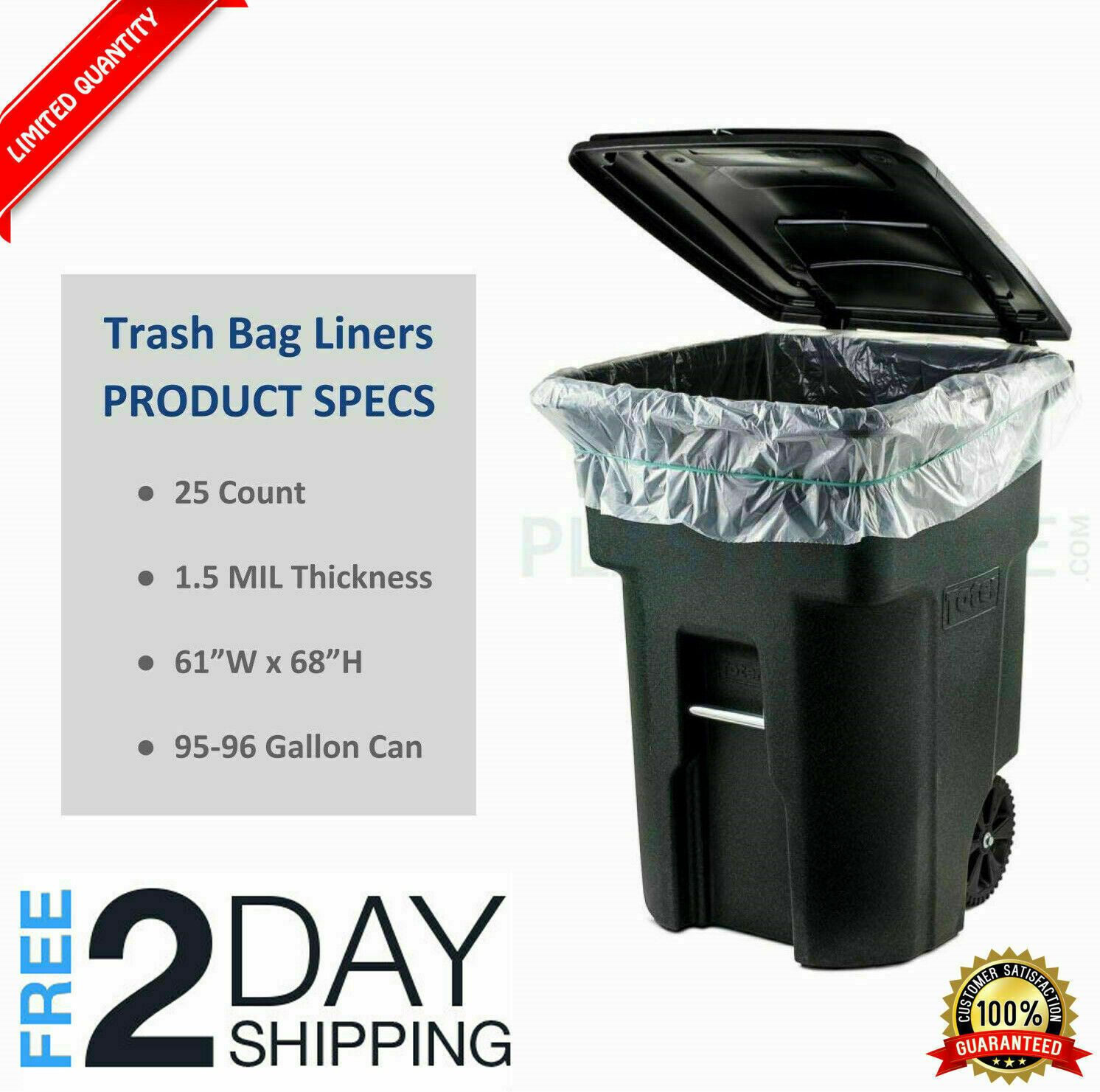96 Gallon Wheeled Trash Can Liners Lid Garbage Container Outdoor