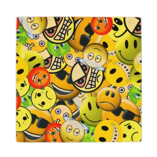 Emoji animated faces wooden coaster