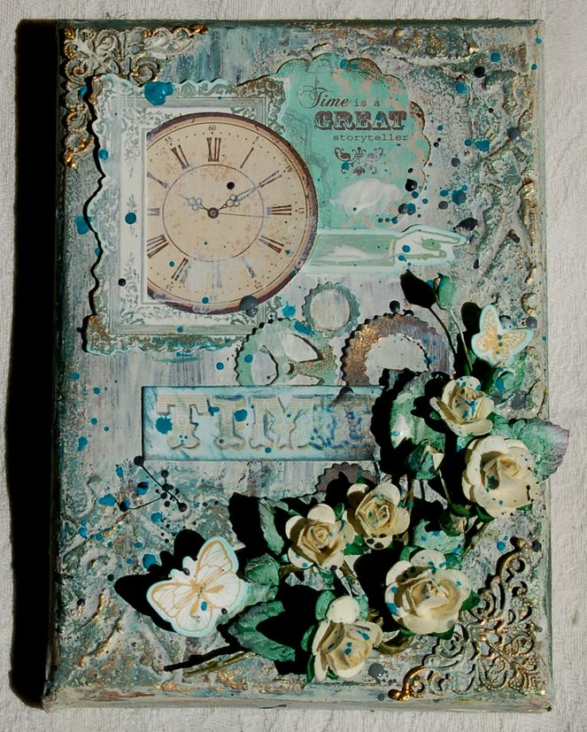 Altered Canvas Using Kaisercraft Papers And Paper Roses By