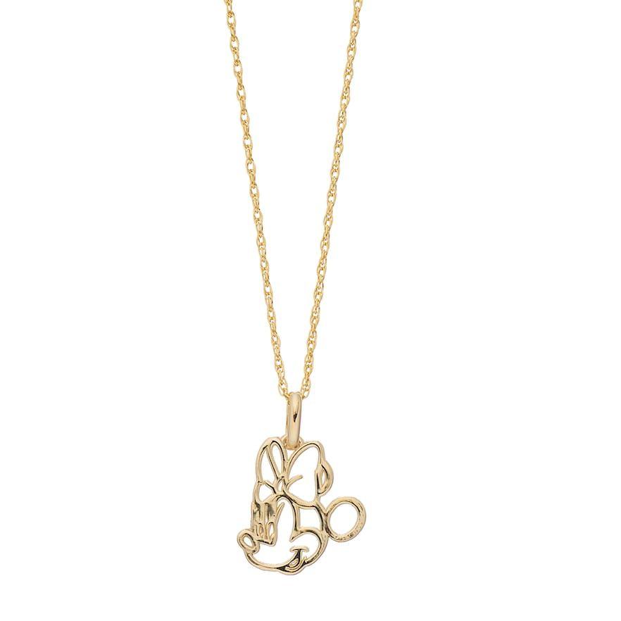 Disney S Minnie Mouse 10k Gold Outline Pendant Necklace Pendant Necklace Gold Pendants