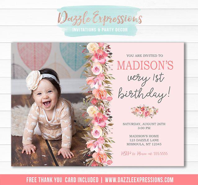 Printable Floral Birthday Invitation Bush Pink Girls 1st - invitation for 1st birthday party girl